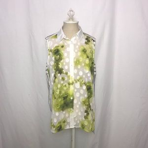Worth New York   Floral Button Down Top   Sz 10